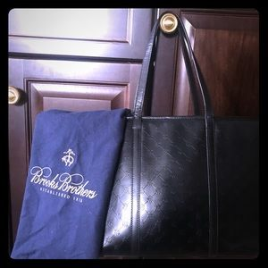 Brooks Brothers Leather Tote from Black Fleece Col
